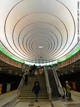 This 2005 underground stop in Warsaw, Poland, named after U.S. President Woodrow Wilson, won a metro design award -- possibly from visiting UFOs.