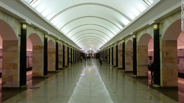 Russia's subway stations are among the world's most impressive. The 2011 Admiralteyskaya addition to St. Petersburg's system blends classic and modern design.