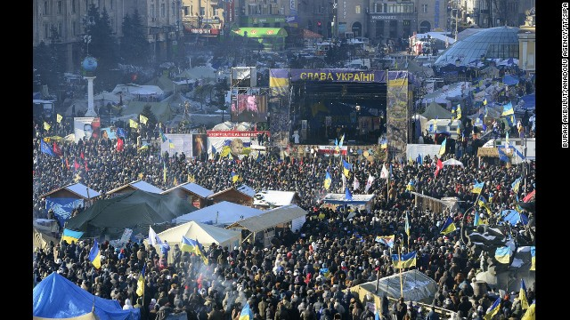 A large crowd of protesters gathers in Kiev on February 2.