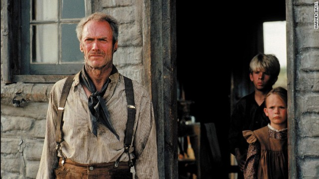 """It's a hell of a thing, killing a man,"" says Clint Eastwood's gunfighter, William Munny, in ""Unforgiven"" -- and, indeed, the Western can be seen as one of Eastwood's many meditations on the impact of violence in society. The actor and director plays Munny, a retired outlaw who is drawn back into his old role to avenge himself on a brutal sheriff (Gene Hackman). ""Unforgiven"" was just the third Western to win best picture, after ""Cimarron"" (1931) and ""Dances With Wolves"" (1990)."
