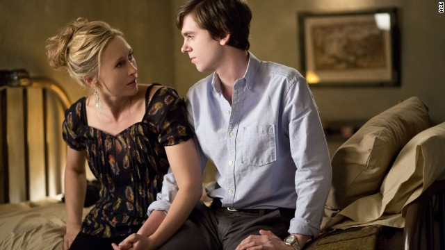 "The first season of the A&E television show <strong>""Bates Motel""</strong> stars Vera Farmiga as Norma Bates and Freddie Highmore as her troubled son Norman. (Available now.)"