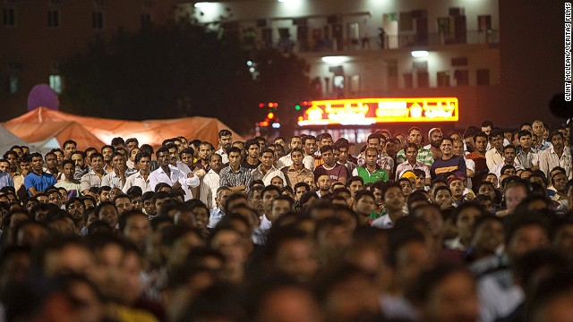 The Western Union-sponsored Camp Ka Champ (translation: Champ of the Camps) is a singing competition held in the labor camps of Dubai. The contest grew from 30 applicants in 2006 to 3,000 in 2013. The finale (pictured) drew in a crowd 10,000-strong.