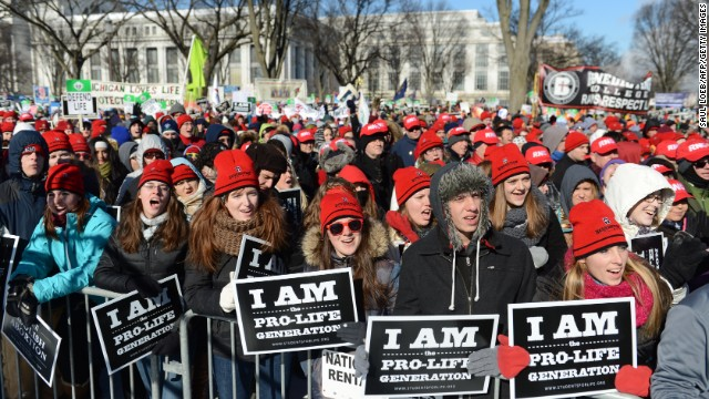 Young anti-abortion demonstrators at the annual March of Life on the National Mall last month