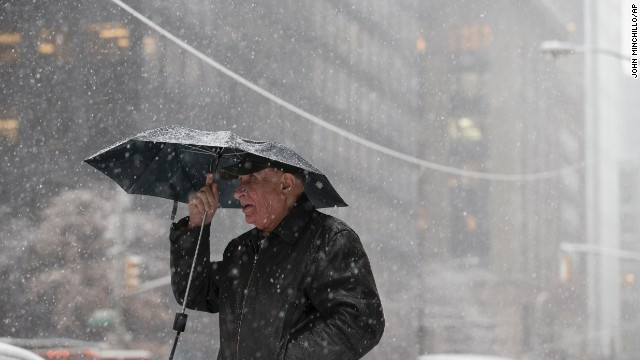 A pedestrian braves the wind and snow in New York on February 3.