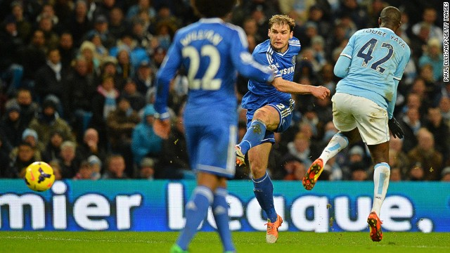 Branislav Ivanovic fires Chelsea's winner against Manchester City at the Etihad Stadium on Monday night.