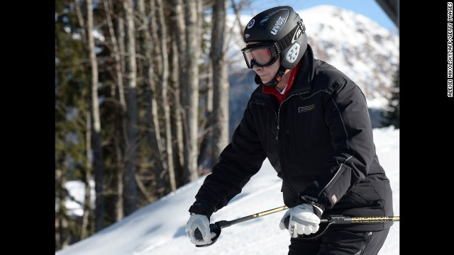Putin skis at the Laura Cross Country and Biathlon Centre near Sochi on January 3.