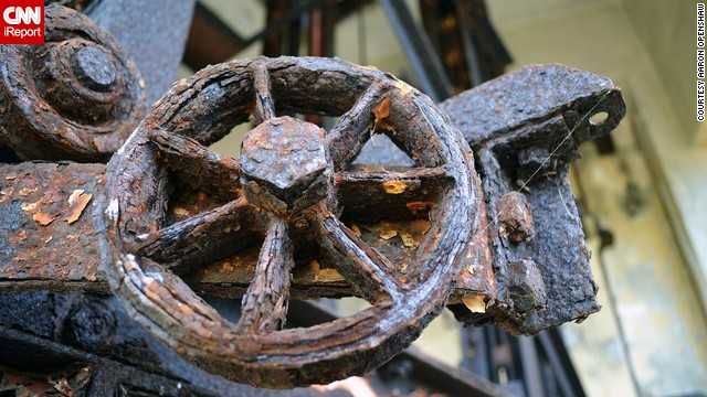 A closeup of a part of the large wheel inside the abandoned shop proved intriguing.