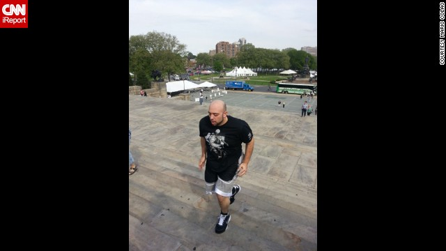 "To celebrate his weight loss, Colao re-created a scene from the movie ""Rocky"" by running up the stairs at the Philadelphia Museum of Art."