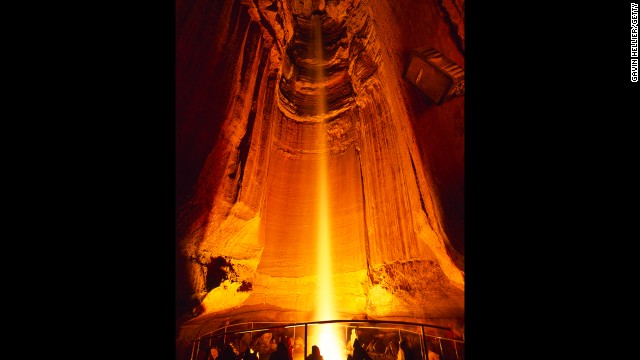 Ruby Falls is a 145-ft waterfall deep inside Lookout Mountain in Chattanooga, Tennessee. Tourists have been visiting the dramatic underground site since the 1930s and show no signs of slowing down.