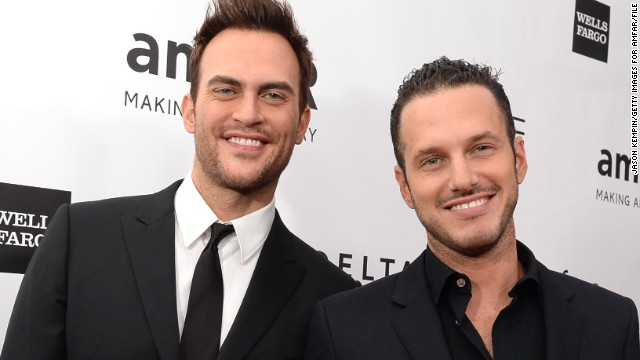 """Glee"" star Cheyenne Jackson, left, got engaged to actor Jason Landau in January."
