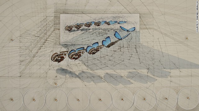 Araujo begins many of his drawings by creating a scaffolding, which helps guide his lines.