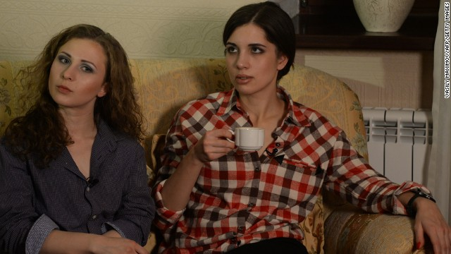 After their release in December, Alyokhina, left, and Tolokonnikova speak with journalists at a hotel in Krasnoyarsk, Russia. Their release was approved when Russian lawmakers backed a sweeping amnesty law announced by Putin. The Russian government said the amnesty marked the anniversary of the adoption of Russia's post-Communist constitution in 1993. But Tolokonnikova said she felt that the amnesty was a publicity stunt to bolster the government's image before Russia hosts the Winter Olympics.