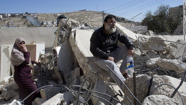 A Palestinian man's (pictured) house was demolished by Israeli authorities on February 5, 2014 in Jabel Mukaber.