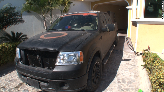 The vigilantes also confiscated a couple of vehicles which were left at the property: a white, late-model, Dodge Ram pickup truck and a modified truck painted matt black. The latter was fitted with half-inch steel plates: it had signs of having been in a shootout, with bullet holes on the passenger side, the hood and the windshield.