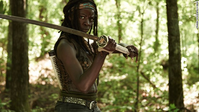 "We didn't even see her face but when she used her katana to slice through zombies at the end of season two, we knew we really liked Michonne, actress Danai Gurira, from ""The Walking Dead"" right away."