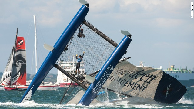 The Extreme Sailing Series provides volatile racing action, as the Aberdeen Asset Management crew found when capsizing in Cowes, England.