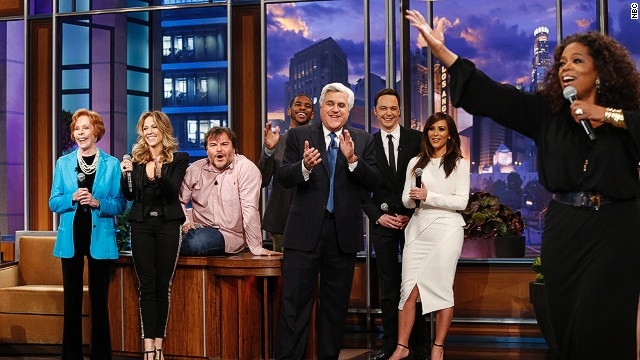 Leno hits a high note with Kim K., Oprah and more