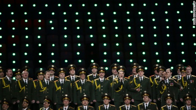 The Russian Interior Ministry choir performs before the opening ceremony.