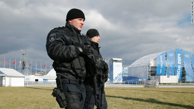 Russian security personnel patrol the Olympic Park on February 4.