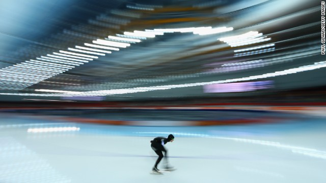 Jonathan Kuck of the United States competes during the men's 5.000-meter speedskating event.