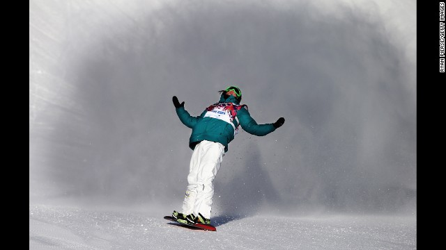 Snowboarder Scotty James of Australia reacts during the slopestyle semifinals.