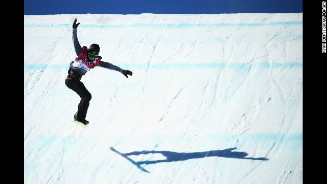 Staale Sandbech of Norway is seen in the air during the slopestyle final.