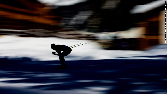 Emma Wiken of Sweden competes in the women's skiathlon.