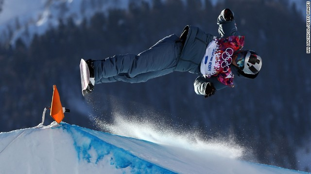 Snowboarder Jan Scherrer of Switzerland competes during the slopestyle semifinals.