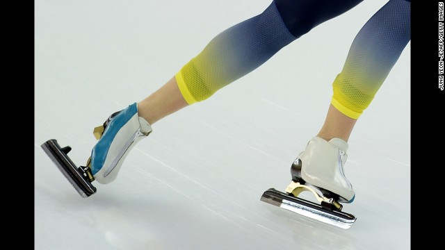 Kazakhstan's Dmitriy Babenko competes in the men's 5,000-meter speedskating event.