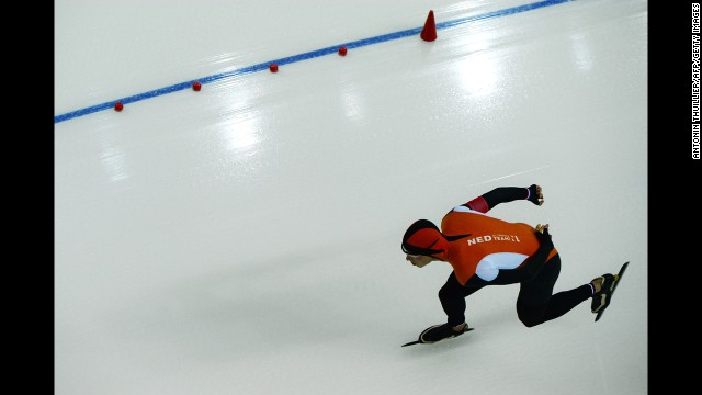 A picture taken with a robotic camera shows Dutch speedskater Sven Kramer competing in the 5,000 meters. Kramer won gold in the event for the second straight Olympics.