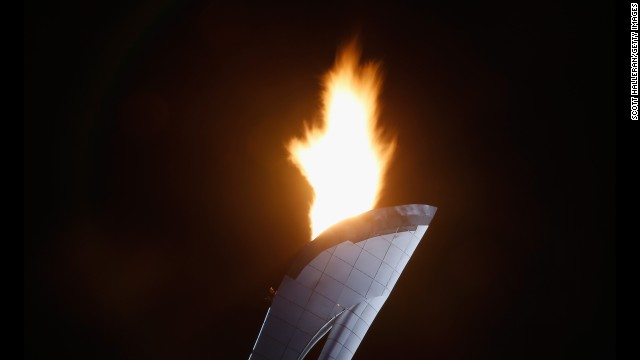 The Olympic cauldron is seen over Olympic Park on February 7.