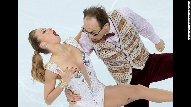 Nelli Zhiganshina and Alexander Gazsi of Germany compete in team figure skating on February 8.