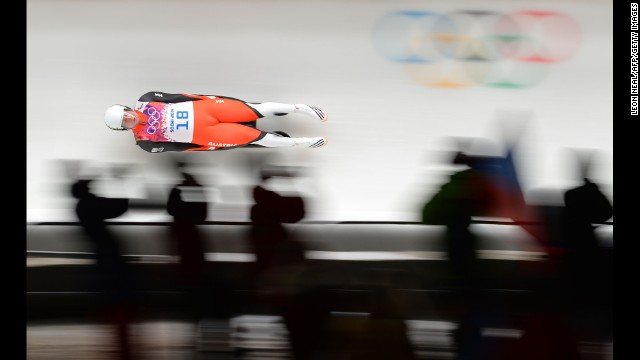 Austria's Daniel Pfister competes in the men's luge on February 8.