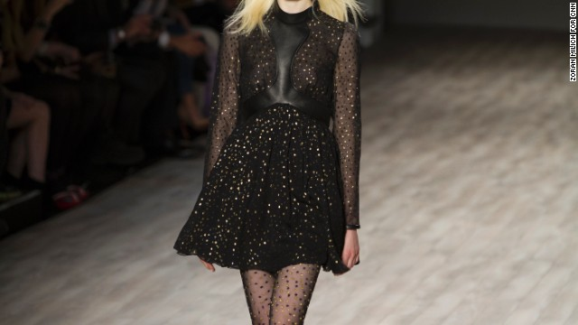 A popular motif in Jill Stuart's collection was metallic polka dots (seen here on the dress and tights).