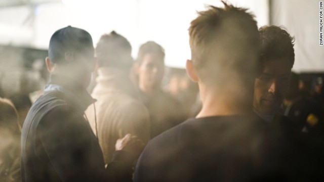 Theatrical smoke from the runway fills the backstage area of the Black Sail by Nautica show on February 7.