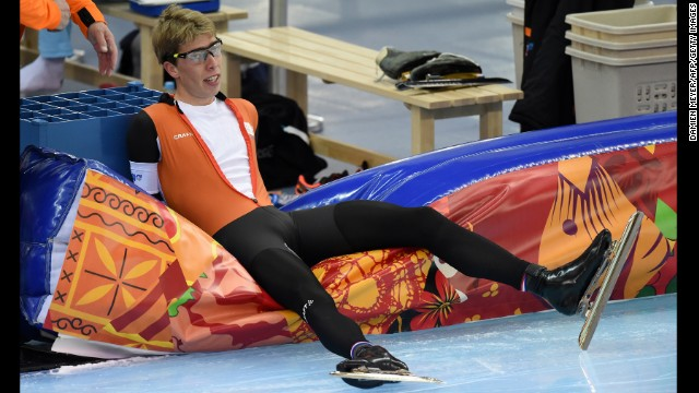 Dutch speedskater Jorrit Bergsma is seen after the men's 5,000-meter race on February 8.