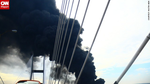 Hein captured several images of the smoke, which he said turned the sky cloudy and dark. The Savannah College of Art and Design tweeted that people should avoid the River Street area for a time.