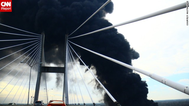 Hein and his friends drove across Talmadge Memorial Bridge to see the warehouse fire in Savannah, Georgia. Pallets of rubber were ablaze.