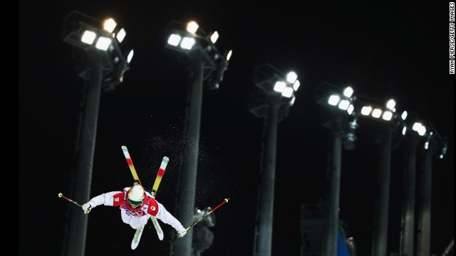 Canadian skier Chloe Dufour-Lapointe competes during the women's moguls final on February 8.