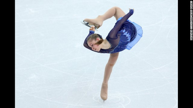Julia Lipnitskaia of Russia competes in the women's short program portion of the team figure skating event.