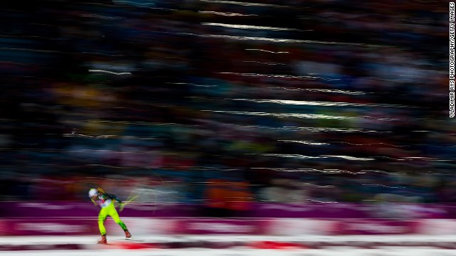 Biathlete Martin Otcenas of Slovakia competes in the men's 10-kilometer sprint on February 8.