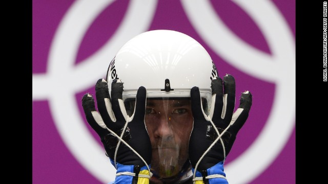 Ukraine's Andriy Kis prepares for his second run in the luge on February 8.