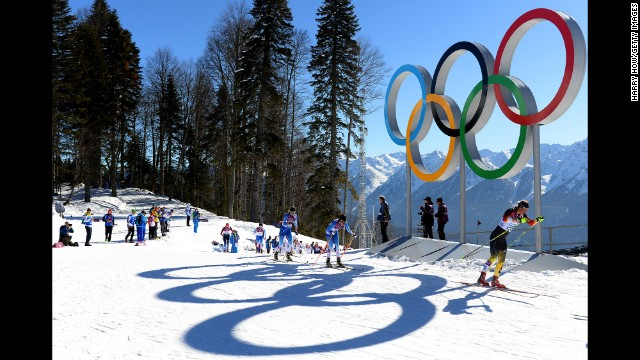 Athletes compete in the women's skiathlon on February 8.