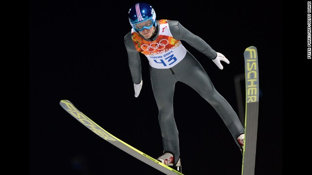 Austria's Michael Hayboeck competes in the men's normal hill ski jump on February 8.