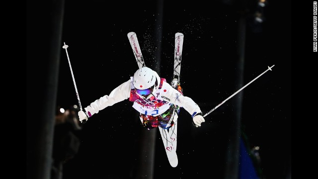 Aiko Uemura of Japan competes in the women's moguls final on February 8.