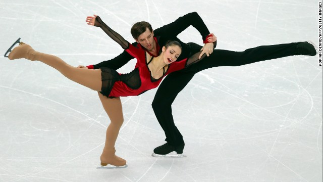 Italy's Stefania Berton and Ondrej Hotarek perform February 8 during the pairs free program portion of team figure skating.