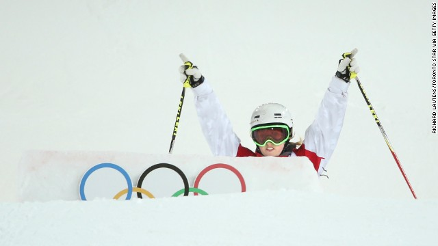 Justine Dufour-LaPointe approaches a jump February 8 during the finals of the women's moguls.