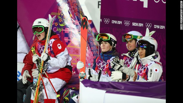 Justine Dufour-Lapointe celebrates after taking the gold in the moguls.