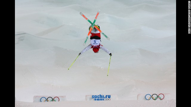 Maxime Dufour-Lapointe, sister of Justine and Chloe, competes in the moguls February 8.