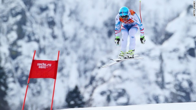 Mayer goes airborne during his brilliant run on the Rosa Khutor downhill course at Sochi.